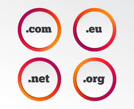Top-level internet domain icons. Com, Eu, Net and Org symbols. Unique DNS names. Infographic design buttons. Circle templates. Vector