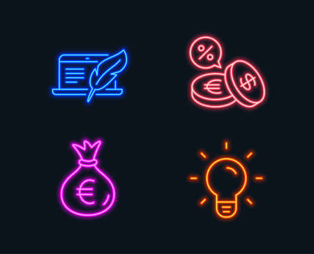 Neon lights. Set of Money bag, Copyright laptop and Currency exchange icons. Light bulb sign. Euro currency, Writer device, Euro and usd. Lamp energy.  Glowing graphic designs. Vector
