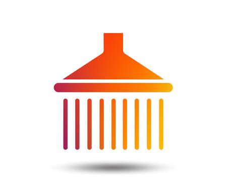 Shower sign icon. Douche with water drops symbol. Blurred gradient design element. Vivid graphic flat icon. Vector Archivio Fotografico - 102807983