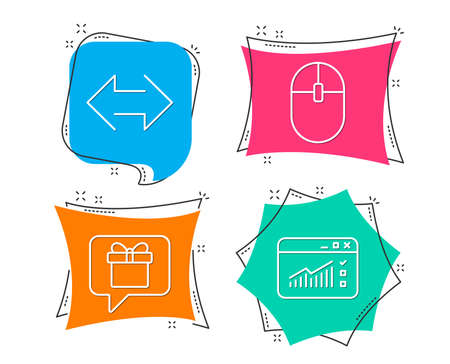 Set of Computer mouse, Sync and Wish list icons. Web traffic sign. Pc equipment, Synchronize, Present box. Website window.  Flat geometric colored tags. Vivid banners. Trendy graphic design. Vector