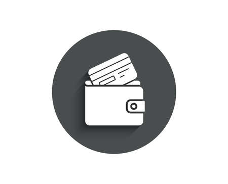 Wallet with Credit card simple icon. Cash money sign. Payment method symbol. Circle flat button with shadow. Vector