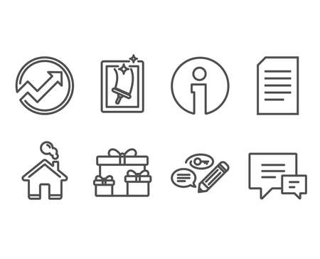 Set of Surprise boxes, Document and Audit icons. Keywords, Window cleaning and Comment signs. Holiday gifts, Information file, Arrow graph. Pencil with key, Housekeeping service, Talk bubbles. Vector Çizim
