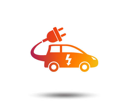 Electric car sign icon. Hatchback symbol. Electric vehicle transport. Blurred gradient design element. Vivid graphic flat icon. Vector
