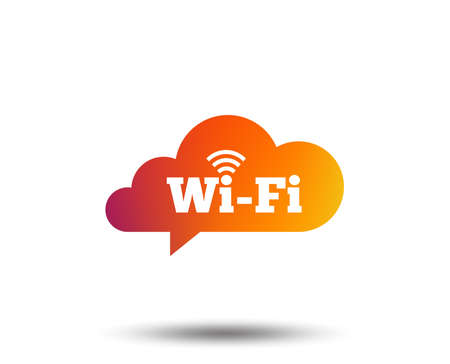Free wifi sign. Wifi symbol. Wireless Network icon. Wifi zone. Blurred gradient design element. Vivid graphic flat icon. Vector