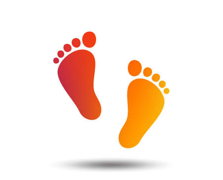 Child pair of footprint sign icon. Toddler barefoot symbol. Baby's first steps. Blurred gradient design element. Vivid graphic flat icon. Vector Illustration