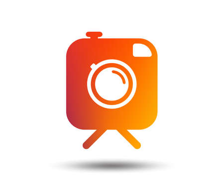 Hipster photo camera sign icon. Retro camera on tripod symbol. Blurred gradient design element. Vivid graphic flat icon. Vector  イラスト・ベクター素材