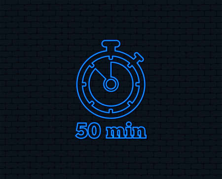 Neon light. Timer sign icon. 50 minutes stopwatch symbol. Glowing graphic design. Brick wall. Vector Illustration