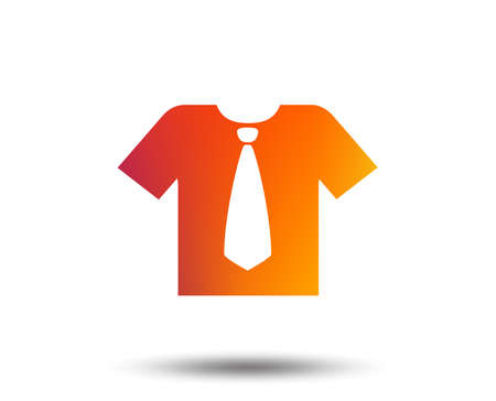 Shirt with tie sign icon. Clothes with short sleeves symbol. Blurred gradient design element. Vivid graphic flat icon. Vector Illustration