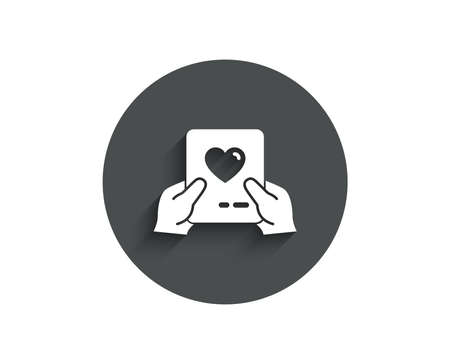 Valentines day mail simple icon. Love letter symbol. Heart sign. Circle flat button with shadow. Vector