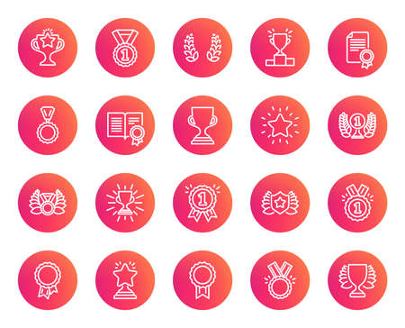 Awards line icons. Set of Winner medal, Victory cup and Laurel wreath signs. Reward, Certificate and Diploma message symbols. Glory shield, Prize and Rank star. Trendy gradient circle buttons. Vector Illustration