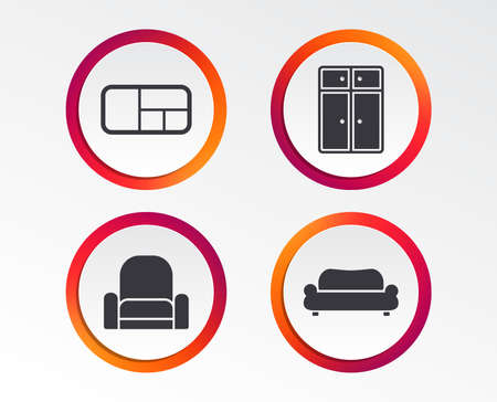Furniture icons. Sofa, cupboard, and book shelf signs. Modern armchair symbol. Infographic design buttons. Circle templates. Vector