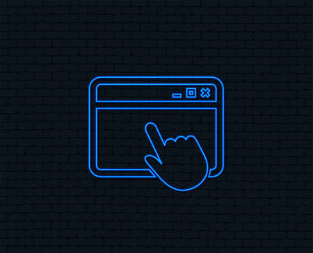 Neon light. Click page icon. Browser window symbol. Website or internet sign. Glowing graphic design. Brick wall. Vector  イラスト・ベクター素材