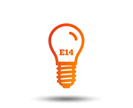 Light bulb icon. Lamp E14 screw socket symbol. Led light sign. Blurred gradient design element. Vivid graphic flat icon. Vector Ilustração