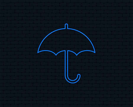Neon light. Umbrella sign icon. Rain protection symbol. Glowing graphic design. Brick wall. Vector