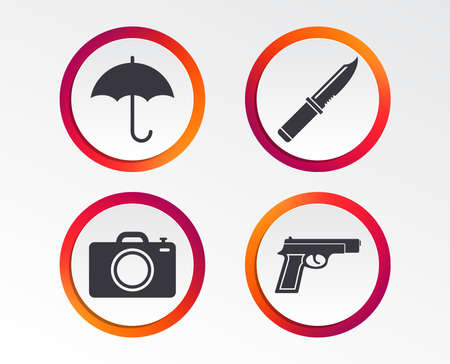 Gun weapon icon.Knife, umbrella and photo camera signs. Edged hunting equipment. Prohibition objects. Infographic design buttons. Circle templates. Vector Illustration