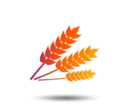 Agricultural sign icon. Gluten free or No gluten symbol. Blurred gradient design element. Vivid graphic flat icon. Vector