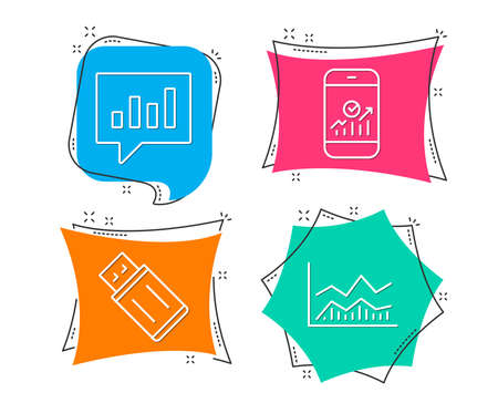 Set of Usb flash, Analytical chat and Smartphone statistics icons. Trade infochart sign. Memory stick, Communication speech bubble, Mobile business. Business analysis.  Flat geometric colored tags Ilustração