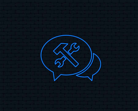 Neon light. Speech bubble repair tool sign icon. Service symbol. Hammer with wrench. Glowing graphic design. Brick wall. Vector