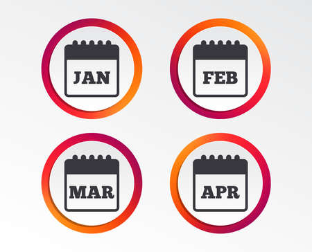 Calendar icons. January, February, March and April month symbols. Date or event reminder sign. Infographic design buttons. Circle templates. Vector