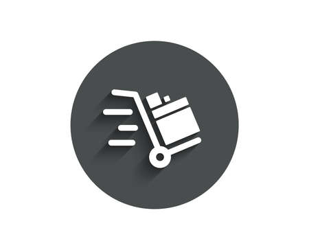 Push cart simple icon. Delivery service sign. Express shipping symbol. Circle flat button with shadow. Vector