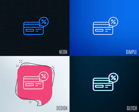 Glitch, Neon effect. Credit card line icon. Banking Payment card with Discount sign. Cashback service symbol. Trendy flat geometric designs. Vector Ilustração