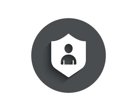 User Protection simple icon. Profile Avatar with shield sign. Person silhouette symbol. Circle flat button with shadow. Vector Illustration