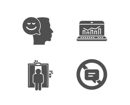 Set of Good mood, Elevator and Web analytics icons. Stop talking sign. Positive thinking, Lift, Statistics. Do not talk.  Quality design elements. Classic style. Vector