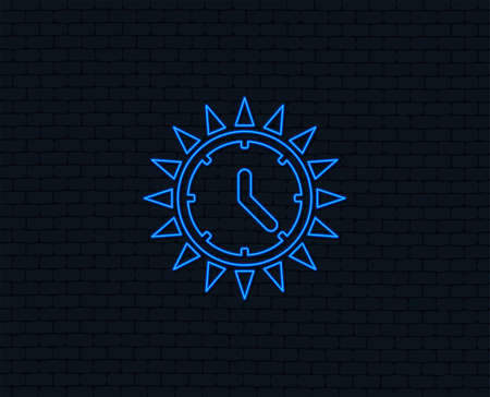 Neon light. Summer time icon. Sunny day sign. Daylight saving time symbol. Glowing graphic design. Brick wall. Vector
