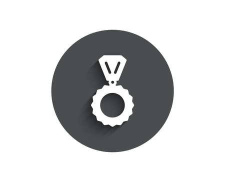 Award Medal simple icon. Winner achievement symbol. Glory or Honor sign. Circle flat button with shadow. Vector