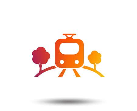 Overground subway sign icon. Metro train symbol. Blurred gradient design element. Vivid graphic flat icon. Vector