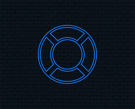 Neon light. Lifebuoy sign icon. Life salvation symbol. Glowing graphic design. Brick wall. Vector Illustration