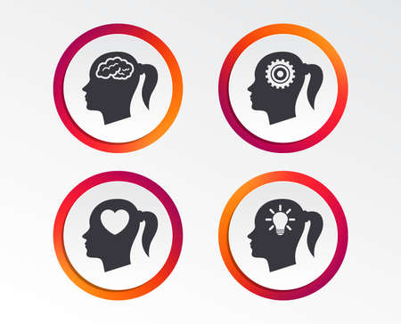 Head with brain and idea lamp bulb icons. Female woman think symbols. Cogwheel gears signs. Love heart. Infographic design buttons. Circle templates. Vector  イラスト・ベクター素材
