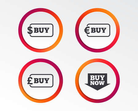 Buy now arrow icon. Online shopping signs. Dollar, euro and pound money currency symbols. Infographic design buttons. Circle templates. Vector Illustration