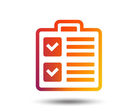 Checklist sign icon. Control list symbol. Survey poll or questionnaire form. Blurred gradient design element. Vivid graphic flat icon. Vector