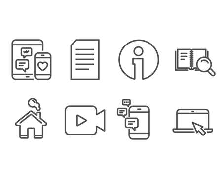 Set of Social media, Search book and Video camera icons. Communication, Document and Portable computer signs. Mobile devices, Online education, Movie or cinema. Vector