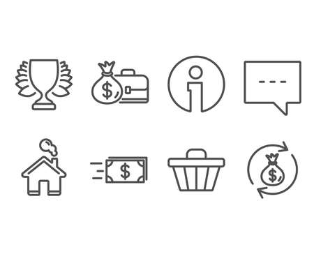 Set of Shop cart, Money transfer and Salary icons. Winner, Blog and Money exchange signs. Web buying, Cash delivery, Sports achievement. Chat message, Cash in bag. Vector