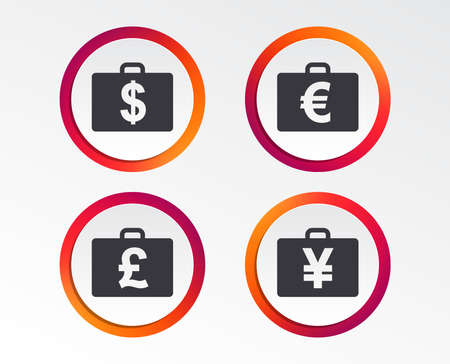 Businessman case icons. Cash money diplomat signs. Dollar, euro and pound symbols. Infographic design buttons. Circle templates. Vector
