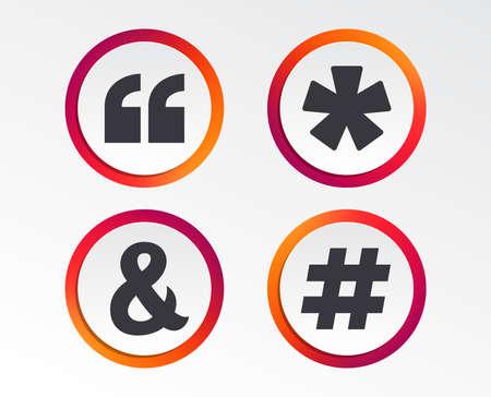 Citation, icônes de note de bas de page astérisque. Hashtag médias sociaux et symboles esperluette. Programmation opérateur logique ET signe. Boutons de conception infographique. Modèles de cercle. Vecteur