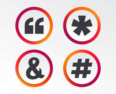 Quote, asterisk footnote icons. Hashtag social media and ampersand symbols. Programming logical operator AND sign. Infographic design buttons. Circle templates. Vector  イラスト・ベクター素材