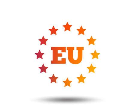 European union icon. EU stars symbol. Blurred gradient design element. Vivid graphic flat icon. Vector 일러스트
