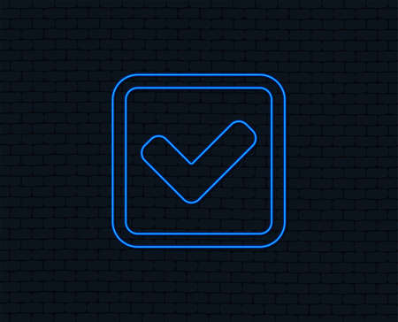 Neon light. Check mark sign icon. Yes square symbol. Confirm approved. Glowing graphic design. Brick wall. Vector