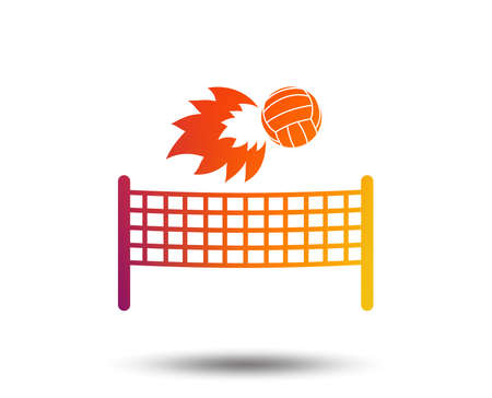 Volleyball net with fireball sign icon. Beach sport symbol. Blurred gradient design element. Vivid graphic flat icon. Vector