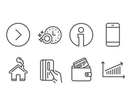 Set of Smartphone, Debit card and Payment card icons. Dishwasher timer, Forward and Chart signs. Cellphone or phone, Cleaning dishes, Next direction. Presentation chart. Vector