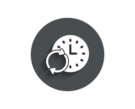 Time simple icon. Update clock or Deadline symbol. Time management sign. Circle flat button with shadow. Vector 일러스트