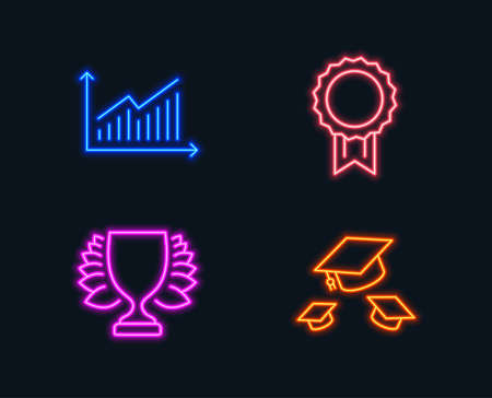 Neon lights. Set of Graph, Winner and Reward icons. Throw hats sign. Presentation diagram, Sports achievement, Best medal. College graduation.  Glowing graphic designs. Vector