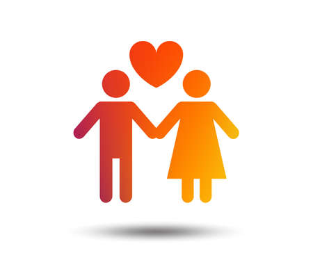 Couple sign icon. Male love female. Lovers with heart. Blurred gradient design element. Vivid graphic flat icon. Vector