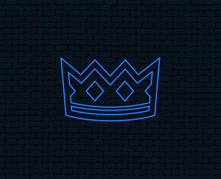 Neon light. Crown sign icon. King hat symbol. Glowing graphic design. Brick wall. Vector
