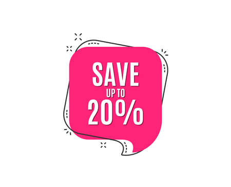 Save up to 20%. Discount Sale offer price sign. Special offer symbol. Speech bubble tag. Trendy graphic design element. Vector Standard-Bild - 111102052