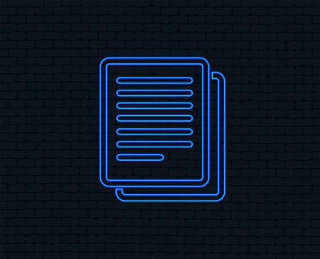 Neon light. Copy file sign icon. Duplicate document symbol. Glowing graphic design. Brick wall. Vector