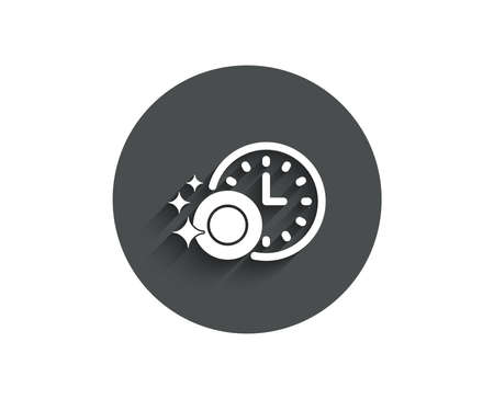 Cleaning dishes with Time simple icon. Dishwasher sign. Clean tableware sign. Circle flat button with shadow. Vector